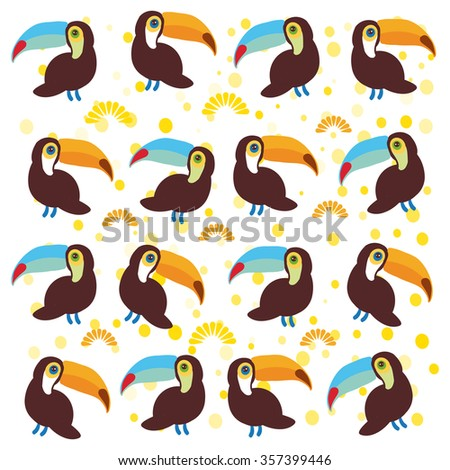 Cute Cartoon toucan birds set on white background.
