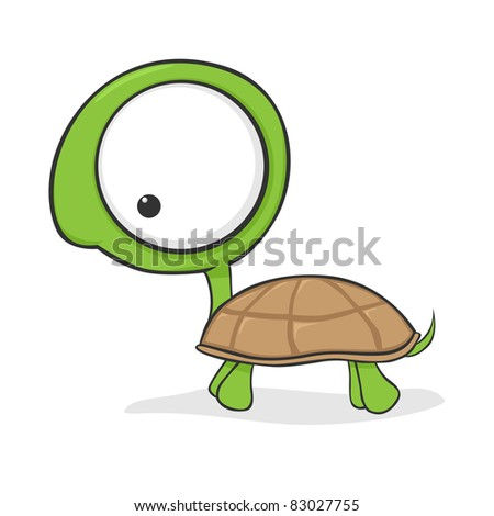 Cute cartoon turtle with huge eyes. Vector version also available in my portfolio. - stock photo
