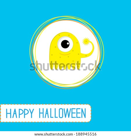 Cute cartoon yellow monster. Blue background.  Happy Halloween card. Rasterized copy - stock photo