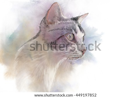 Cute cat. Watercolor portrait of a cat. Drawing of a cat with yellow eyes executed in watercolor. Good for print T-shirt. Hand painted watercolor cat illustration. Art background, banner for pet shop. - stock photo
