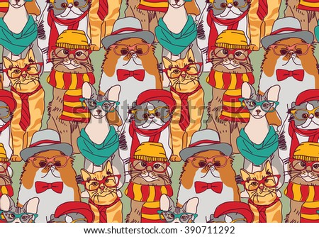 Cute cats group fashion hipster seamless pattern.  Color illustration.  - stock photo