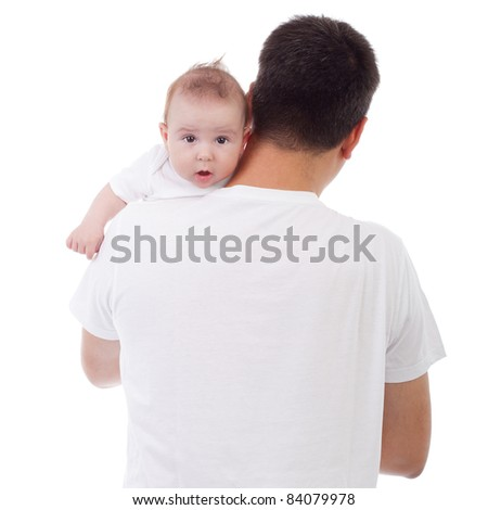 Cute Caucasian baby looking over father's shoulder, isolated on white - stock photo