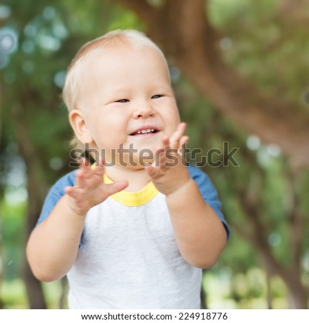 Cute caucasian baby outdoor portrait
