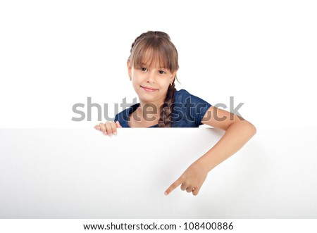 Cute caucasian girl with blank board isolated over white