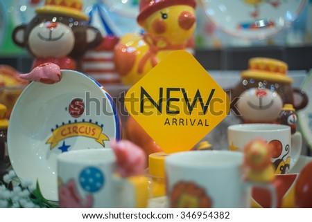 Cute ceramic mugs - stock photo
