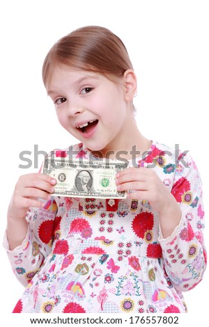 Cute cheerful little girl with paper money - dollars, isolated over white/little girl holding one dollar