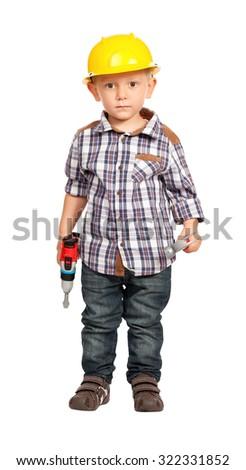 cute child act like handyman isolated on white - stock photo