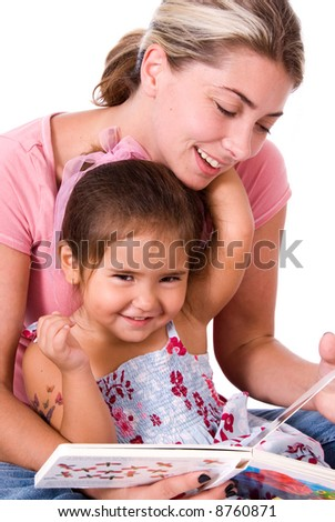 Cute child and Mom. - stock photo