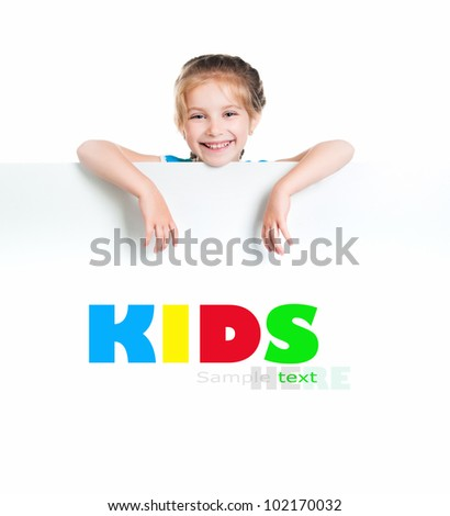 cute child behind a white board