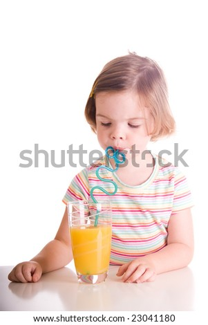 cute child eating drinking orange juice