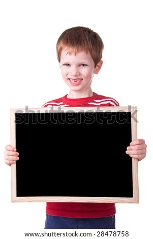 Cute child holding a blackboard, isolated on white background.