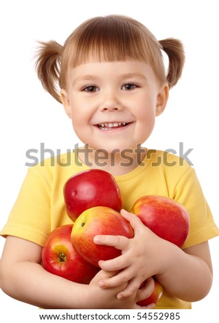 Cute child holds a lot of red apples, isolated over white - stock photo