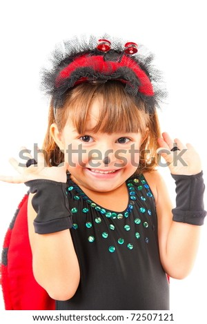 Cute child with Ladybug costume party .