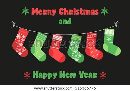 Cute childish Christmas and New Year banner with socks bunting for your decoration