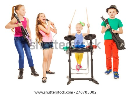 Cute children playing instruments and girl sings - stock photo