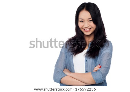 Cute chinese model posing with confidence