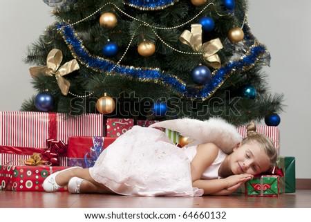 Cute Christmas Angel - stock photo