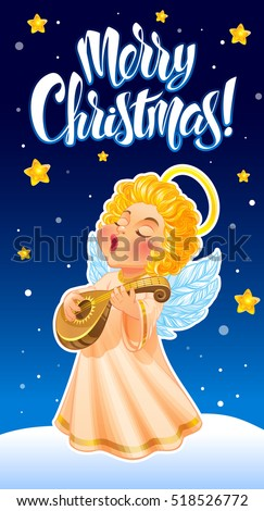 Vector Illustration Cute Christmas Angel Long Stock Vector ...