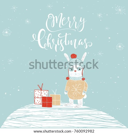 Cute Christmas Gift Card With Lettering Quote Merry Christmas, Magic  Moments. Easy Editable Template