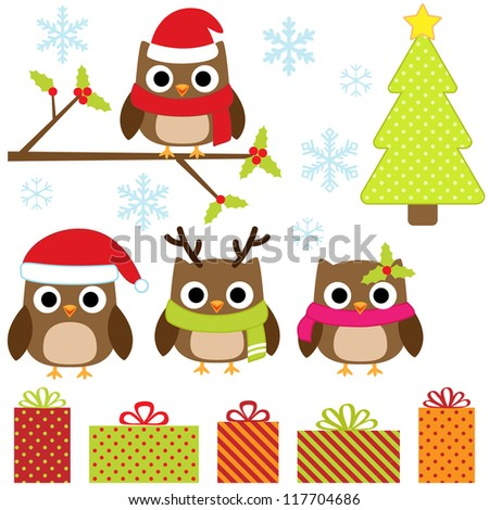 Cute Christmas vector set with funny owls. Raster version. - stock photo