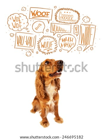 Cute cocker spaniel with barking speech bubbles above her head - stock photo