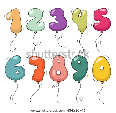 Cute colorful bubble shaped numbers set. Cartoon air balloons in the form of numbers. Doodle collection for birthday party, kids design, funny invitations. - stock photo