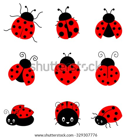 Cute colorful ladybugs clipart collection isolated on white background - stock photo