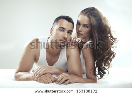 Cute couple lying on the bed