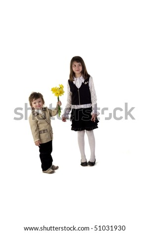 Cute couple of two children - stock photo