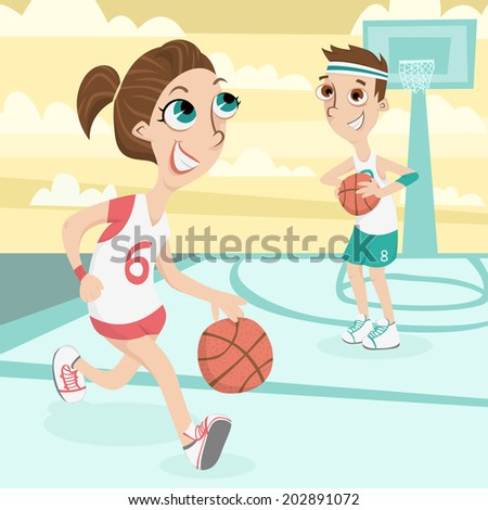 Cute couple play basketball Illustration - stock photo