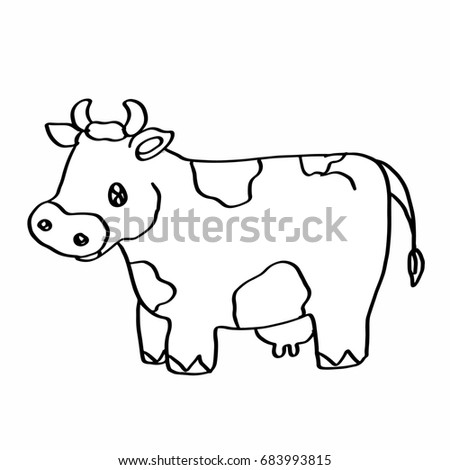 cute cow coloring page stock illustration 683993815 shutterstock