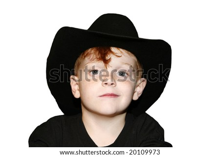 Cute cowboy boy isolated on white. - stock photo