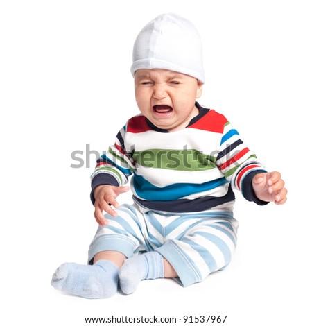 cute crying boy - stock photo