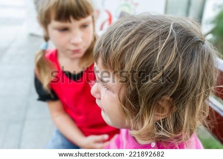 cute crying child girl - stock photo