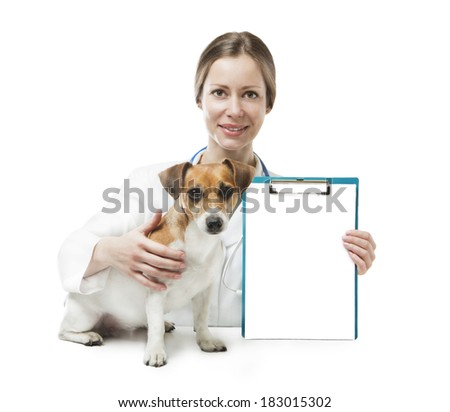 cute curious little dog sitting near beautiful veterinarian woman who holds office clip blank sheet of paper for your ad Text information. White background. Studio shot - stock photo