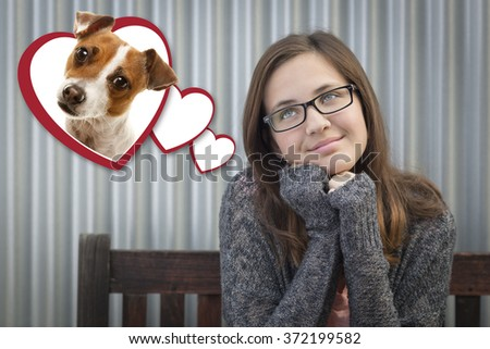 Cute Daydreaming Girl Next To Floating Hearts with Puppy Within. - stock photo