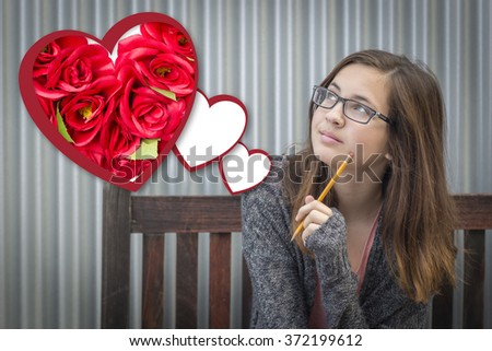 Cute Daydreaming Girl Next To Floating Hearts with Red Roses. - stock photo