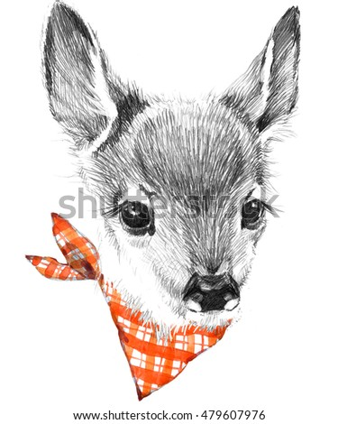cute deer pencil sketch of fawn animal illustration t shirt design
