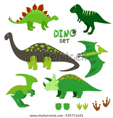 Cute dinosaurs set. Collection of cartoon dinosaurs and prints. Raster illustration.