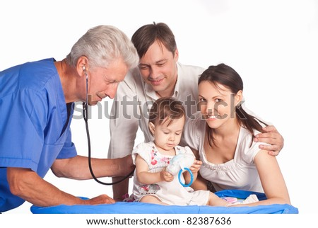 cute doctor and family on white - stock photo