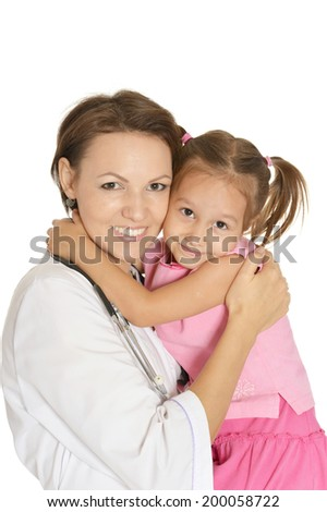Cute doctor with little girl on white - stock photo