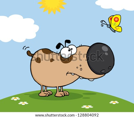 Cute Dog Cartoon Mascot Character With Butterfly On A Meadow. Raster Illustration.Vector Version Also Available In Portfolio. - stock photo