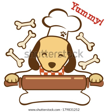 Cute dog chef with rolling pin making dog biscuits. Raster - stock photo