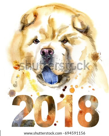 Cute Dog. Dog T-shirt graphics. watercolor chow-chow dog illustration. Symbol of the year 2018