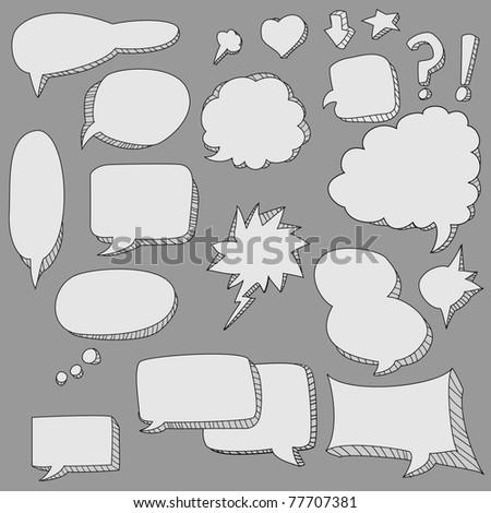 cute doodle speech bubble - stock photo