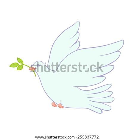 cute dove with a sprig in its beak - stock photo