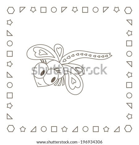 Cute dragonfly. Coloring page. Coloring book. - stock photo
