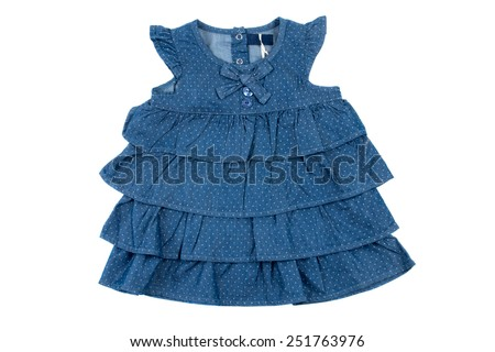 cute dress for baby girl, isolated on white - stock photo