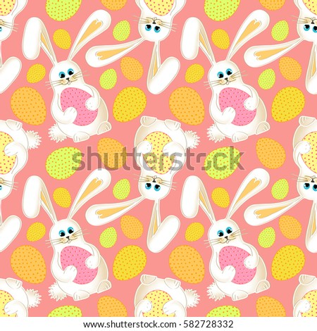 Cute easter bunny seamless pink background stock illustration cute easter bunny seamless pink background with cartoon rabbit and colorful easter eggs gift negle Images