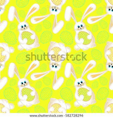 Beautiful easter bunny seamless holiday green stock illustration cute easter bunny seamless yellow background with cartoon rabbit and colorful easter eggs gift negle Gallery